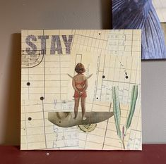STAY is the title of this Original mixed media collage by Gitte Lykke