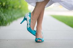 Qupid Blue Peeptoes With Lace Appliques Wedding Shoes $45