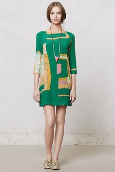 silk kelly green abstract dress