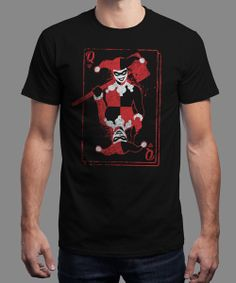 """""""Quinn of Hearts"""" is today's £8/€10/$12 tee for 24 hours only on www.Qwertee.com Pin this for a chance to win a FREE TEE this weekend. Follow us on pinterest.com/qwertee for a second! Thanks:)"""