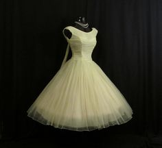 Vintage 1950's 50s Bombshell Ruched Lemon Yellow Chiffon Organza Party Prom Wedding Dress
