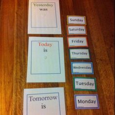 teaching days of the week + today, yesterday, tomorrow