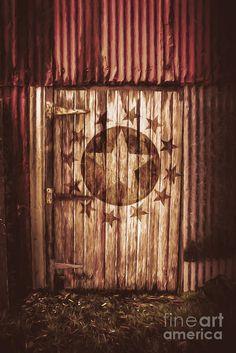 Artistic digital illustration of an army star on a closed world war 2 air force hanger door. Top secret bunker by Ryan Jorgensen