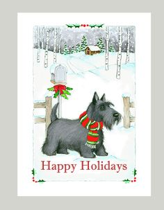 The confident Scottish Terrier is featured on this Christmas Card. Share your Holiday Greetings to family & friends with your favorite canine companion. Inside: Wishing You Joy and Delight for the Holiday Season! Box of 16 cards 5 x 7 Printed on Recycled paper with 16 white envelopes, Printed in the U.S.A.