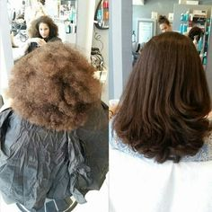 Keratin Treatment, Brazilian Blowout before and after.