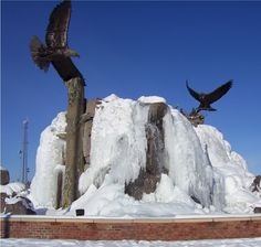 The Taylor Crossing sculpture and fountain look great in the winter too!