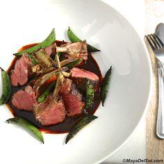 chuletas de borrego | new zealand rack of lamb, snap peas, chipotle sweet potato purée, ancho-red wine sauce