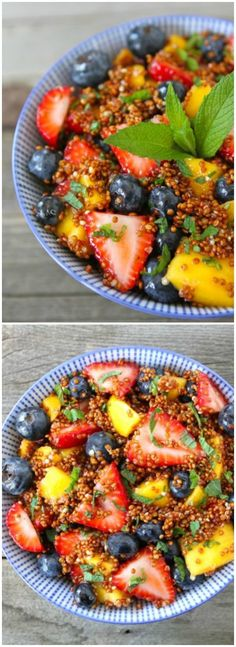 Quinoa Fruit Salad with Honey Lime Dressing on twopeasandtheirpod.com My favorite fruit salad recipe!