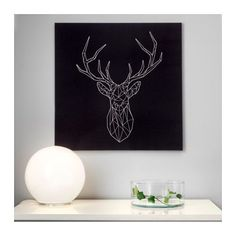 IKEA PJÄTTERYD picture You can personalise your home with artwork that expresses your style. Canvas Wall Art, Painting Canvas, Cerf Design, Ikea Pictures, Geometric Deer, Easy Animals, Room Setup, Home And Deco, Deer