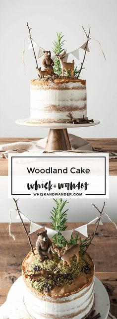This playful woodland cake is made of flavorful Madeira cake layers and finished with vanilla bean buttercream, matcha moss and Valrhona cacao nibs. via (Baby Cake) Birthday Cupcakes, Birthday Parties, Birthday Ideas, Birthday Celebration, Woodland Cake, Woodland Party, Cake Flavors, Baby Shower Cakes, Baby Cakes
