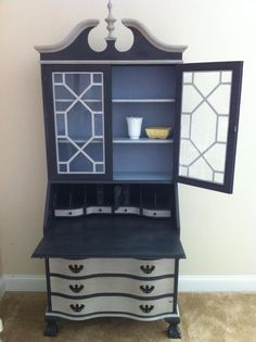 A beautiful Secretary Desk finished in Graphite & Paris Grey Chalk Paint® decorative paint by Annie Sloan then topped with dark & clear wax. Louis Blue Chalk Paint® and clear wax for the inside of the shelves | By Quite Contrary Furnishings.
