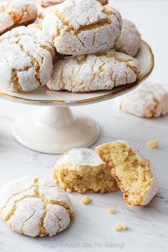 Ricciarelli: Chewy Italian Almond Cookies Ricciarelli are dense, chewy Italian almond cookies originating in Siena. They are a distant, and much less fussy, Italian cousin to the French macaron — perfect with tea or coffee! Italian Almond Cookies, Italian Cookie Recipes, Italian Desserts, Just Desserts, Baking Recipes, Dessert Recipes, Italian Almond Biscuits, Italian Foods, Tea Cakes
