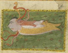 """A fish with a human head with snakes coming out of its head, from 17th or 18th century manuscript copy of """"The Book of Wonders of the Age"""" (St Andrews ms32(o))"""