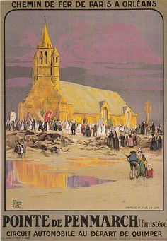 Lovely Pastel Vintage Travel Poster:Pointe de Penmarch, Brittany, Northwestern France