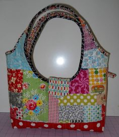 OOAK cotton scrap quilted purse / tote Heather Ross FMF by bkvail