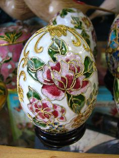 Beautiful cloisonne egg. We have bunnies too!