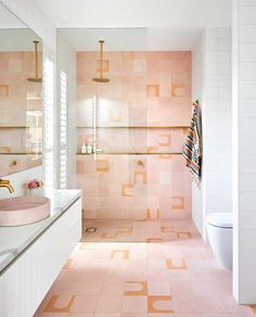 """Inside Out on Instagram: """"Pink bathrooms, yay or nay? In the creation of their dream home, this family looked to the past for inspiration. Step inside via our link…"""" Concrete Basin, Concrete Bathroom, Brass Bathroom, Modern White Bathroom, Feature Tiles, Timber Cladding, Encaustic Tile, Australian Homes, Bathroom Styling"""