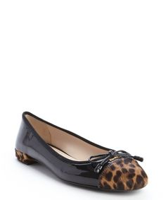 ed23eb6e7d7c Prada black parent leather leopard print calf hair cap toe flats | BLUEFLY  Leopard Flats,