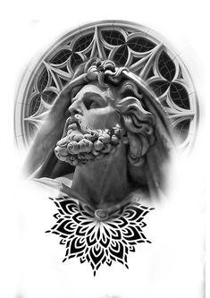 Jesus Tattoo Design, Design Tattoo, Tattoo Design Drawings, Tattoo Sketches, Half Sleeve Tattoos Drawings, Full Leg Tattoos, Line Tattoos, Tatoo Designs, Angel Tattoo Designs