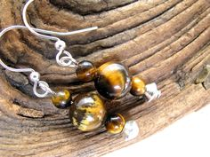 Tiger Eye and Silver Dangly Earrings - pinned by pin4etsy.com