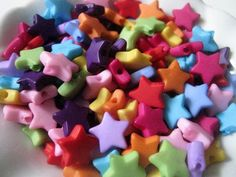 Acrylic Star Beads Mixed Colors - 100 Pieces