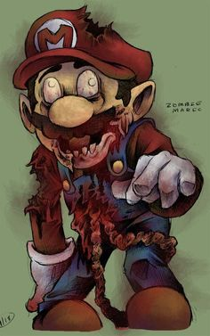 zombie super mario game character fan art re design zombified nintendo by_jeffyp