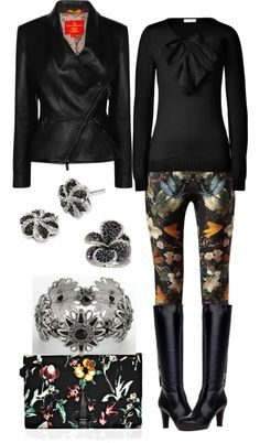 """Floral Noir"" by angela-windsor on Polyvore"