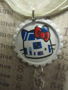 Star Wars R2D2 Hello Kitty Bottlecap Pendant by TinkerbevsTrinkets, $6.99