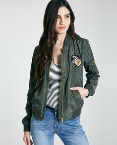 6597135d23 Bomber Jacket With Patches Wet Seal Pocket Detail
