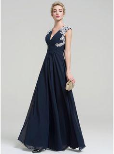A-Line/Princess V-neck Floor-Length Chiffon Evening Dress With Appliques Lace