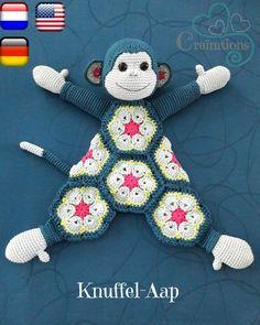 59 best Ideas for crochet baby blanket bear african flowers Crochet Security Blanket, Crochet Lovey, Crochet Baby Toys, Baby Girl Crochet, Baby Blanket Crochet, Crochet Animals, Crochet Dolls, Crochet African Flowers, Crochet Flowers