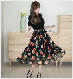 Ericdress Floral Print Patchwork Lace-Up Maxi Dress 5 Chiffon Maxi Dress, Floral Chiffon, Dress Skirt, Pleated Skirt, Japanese Fashion, Asian Fashion, Cute Summer Dresses, Casual Dresses, Fashion Outfits