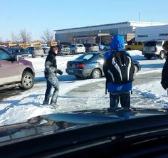 Dad Picking Up Kids From School Records Video of Students Hilariously Slipping on Ice - click for video on his facebook account