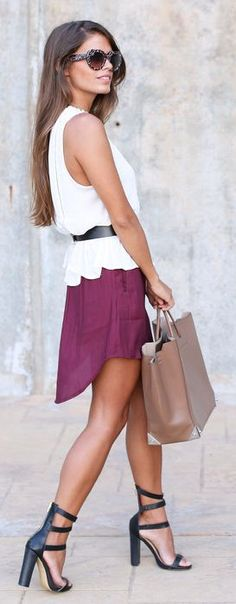 Vila Burgundy High And Low Lined Skater Mini Dress by Seams For a Desire