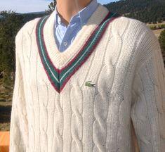 c3b027d013 vintage 70s izod LACOSTE sweater v-neck wool tennis striped alligator cable  knit preppy XL Large 80s