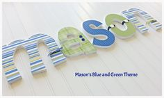 "6"" Custom Wooden Nursery Letters -  Mason's Theme - Blue, Green and White - Boy's Room - Choose from a selection of fonts in this store"