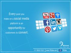 Every post you make on a social media platform is an opportunity for customers to convert.  For Inquiries: +91 9833219322 or visit: www.9dzine.com  #9dzine #socialmediamarketing #facebook #twitter #pinterest #instagram #google+