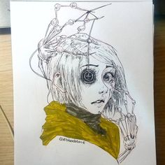 Day 2 I love drawing spooky stuff and animation movies. And when we say spooky stuff and animation there is one single great movie 💖 Creepy Drawings, Dark Art Drawings, Creepy Art, Love Drawings, Tim Burton Kunst, Tim Burton Art, Arte Horror, Horror Art, Coraline Drawing