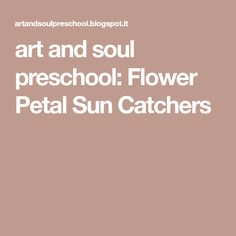 art and soul preschool: Flower Petal Sun Catchers