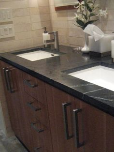 Browse photos and discover the benefits of limestone, slate and travertine countertops for the bathroom at HGTVRemodels.