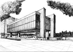 The Sao Paulo Museum of Art by Architect Lina Bo Bardi Architecture Exam, China Architecture, Architecture Concept Drawings, Architecture Sketchbook, Perspective Sketch, Poster S, Facade Design, Layout, Sketches