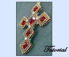 Wire Jewelry, Jewelry Crafts, Beaded Jewelry, Beaded Bracelets, Beaded Ornament Covers, Beaded Ornaments, Right Angle Weave, Beaded Cross, Christian Jewelry