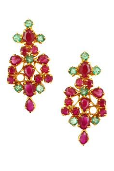 A pair of earwear crafted in gold set with Rubies and Emeralds