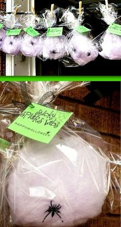 Halloween Party - Cotton Candy Spider Web Favors - cute way to display! cute kids halloween ideas #halloween #party #kids