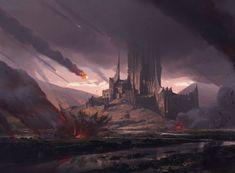 """Molten Rain"" Illustration done long ago for Magic the Gathering. Dark Fantasy Art, Fantasy Battle, Fantasy Concept Art, Fantasy City, Fantasy Places, Medieval Fantasy, Fantasy Artwork, Fantasy World, Fantasy Landscape"