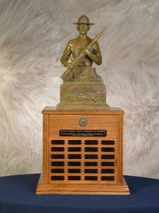 National Trophy Individual Trophy Match The National Guard Association Trophy was presented to the NBPRP in 1983 and replaces the original trophy established in 1979. The trophy depicts a helmeted Guardsman in bronze, mounted on a two-tiered walnut base. NATIONAL GUARD ASSOCIATION TROPHY WINNERS Awarded to: Highest scoring National Guard competitor INDIVIDUAL SCORE YEAR CW3 DIVID R. LOGAN, ARNG 489-08XContinue Reading Military Memorabilia, Military Branches, National Guard, Clock, Bronze, Continue Reading, Logan, War, American