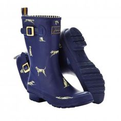 Joules Molly Welly Navy Dog women's wellies http://www.kindredsole.com/joules-molly-welly-navy-dog-mid-calf-wellies.html #joules #fashion #style #boots #wellies #rainboots #dog #puppy #navy #blue #print #festival
