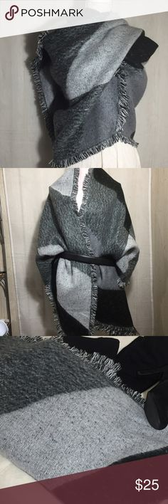 """Long Blanket Scarf in Black and Gray Large checkerboard of shades of gray and black.  1"""" fringe border Angle ends  75% acrylic 25% polyester hand wash cold and lay flat to dry.  26"""" wide x 96"""" long  Bin O Accessories Scarves & Wraps"""