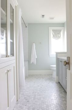 Tile/wall color idea --- Sherwin Williams Sea Salt in a bathroom with marble hexagon tile floor, natural light and white subway tile House Bathroom, Bathroom Renos, Home, Guest Bathroom, Painting Bathroom, Bathroom Flooring, Bathrooms Remodel, Bathroom Decor, Bathroom Inspiration
