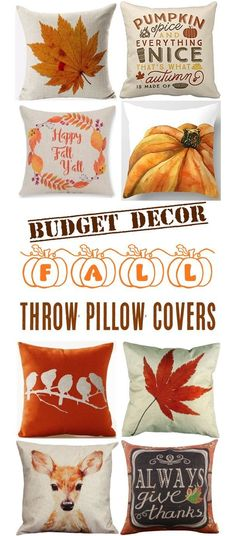 Fall Decor Ideas For The Home!    These Autumn Zipper Throw Pillow Covers are the easiest way to add some fun Fall flair to your rooms on a budget! | TheFrugalGirls.com